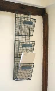 Wall Mounted Storage Baskets Hanging Wire Wall File Or Mail Holder Organizers With 3
