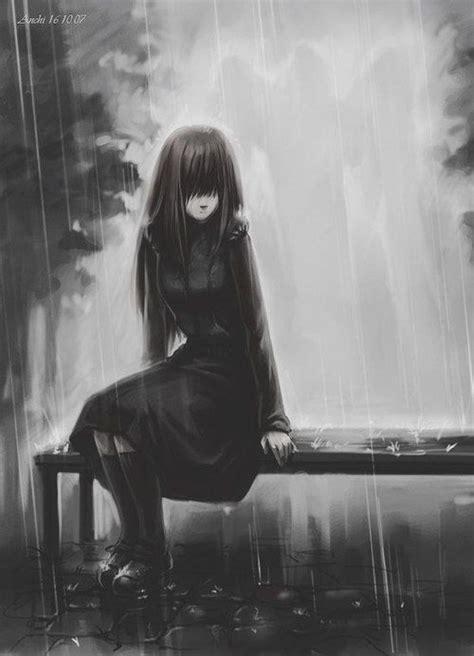 imágenes tristes en blanco y negro imagen de cry darkness and sad face anime girl