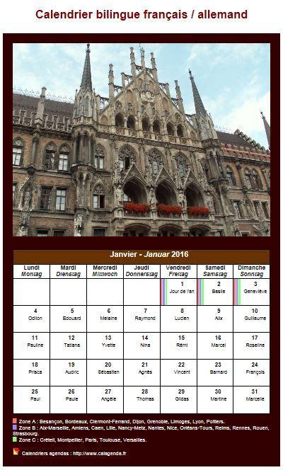 Calendrier Traduction Calendrier Mensuel 2016 Allemand