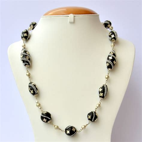 Handmade Necklaces - handmade black necklace studded with metal chain