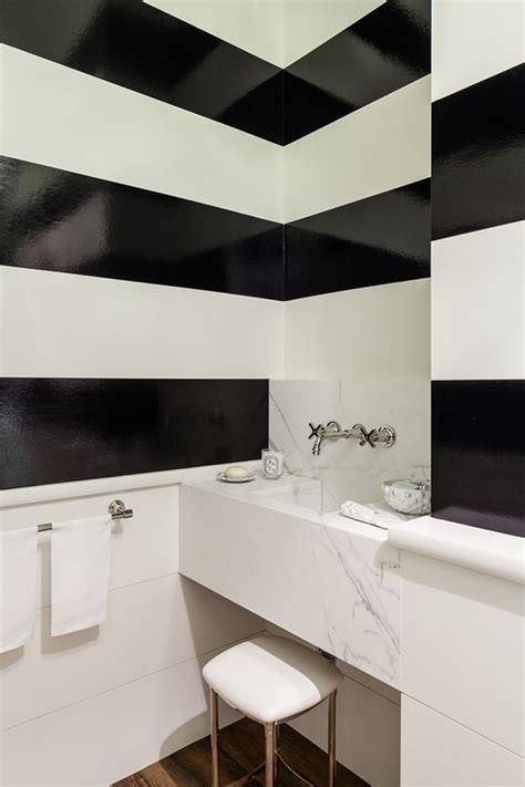 high gloss paint black amp white stripes powder room very