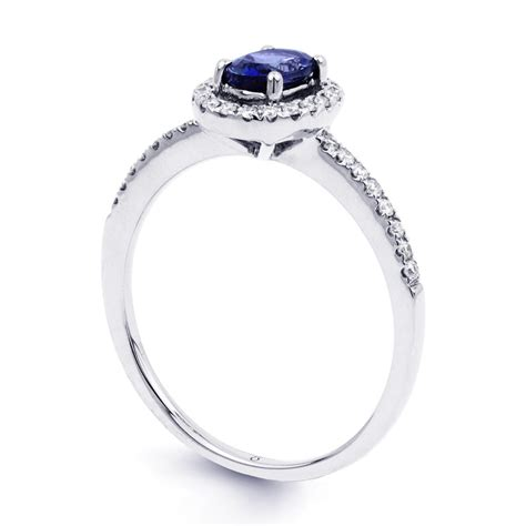 18ct white gold blue sapphire pave halo ring