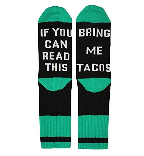 tacodance if you can read if you can read this knit in word funny taco socks crazy