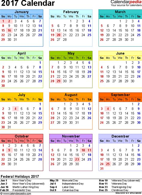 Calendar 2017 Excel With Holidays 2017 Calendar With Federal Holidays Excel Pdf Word Templates