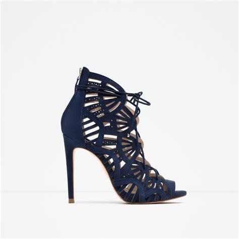 zara leather sandals zara wraparound leather sandals in blue lyst