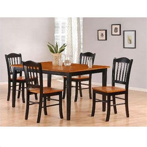 Shaker Dining Room Set Boraam 80536 Shaker 5 Dining Room Set Black Oak Furniture Chairs Kitchen Chairs
