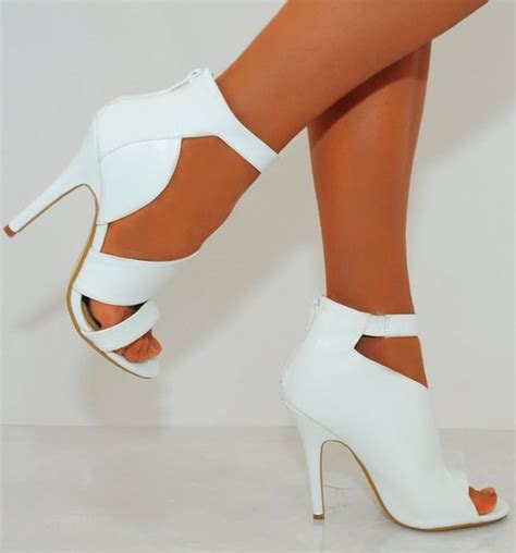 womens white high heels buy womens white black pu faux leather cut outs