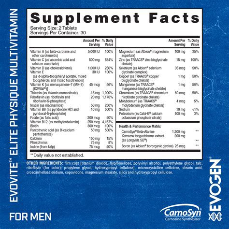 recovery room nutrition facts evovite evogen nutrition