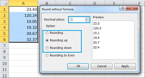 format excel round up how to round round up round down a range of cell