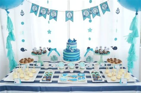 baby shower sweet table a boy s whale themed baby shower spaceships and laser beams