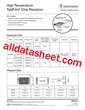 w1206ht datasheet pdf welwyn components limited