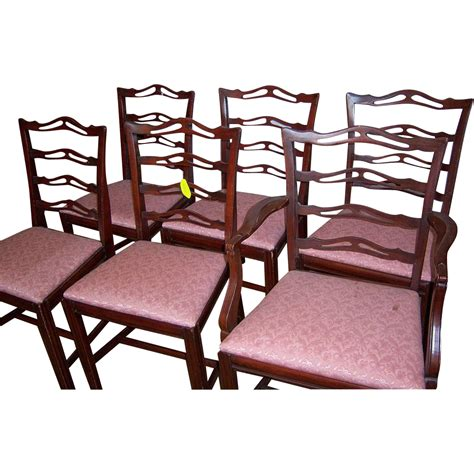 Chippendale Ribbon Back Dining Chairs by Mahogany Finish Chippendale Style Ribbon Back Chairs Set