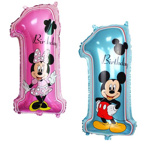 happy birthday decoration minnie mickey balloon pink blue baloon number helium foil balloons