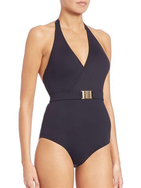 odabash one belted halter swimsuit in black