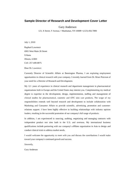 Economic Researcher Cover Letter by Director Of Research And Development Cover Letter Sles And Templates
