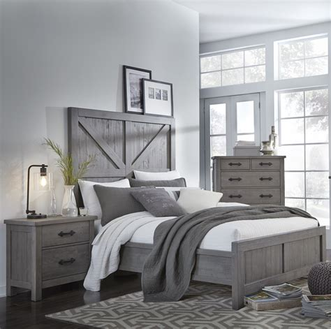 Gray Bedroom Set by Gray Rustic Contemporary 6 King Bedroom Set