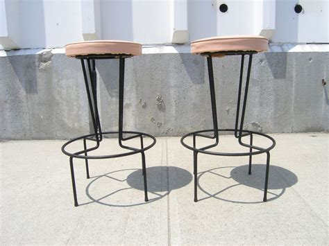 Wrought Iron Bar Stool Pair Of Wrought Iron Bar Stools By Frederic Weinberg At 1stdibs