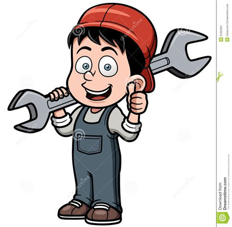 3 Car Garage Plans by Cartoon Mechanic Holding A Huge Wrench Stock Image Image