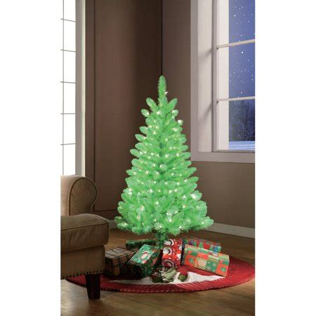 walmart christmas trees with lights time pre lit 4 lime green artificial tree clear lights walmart