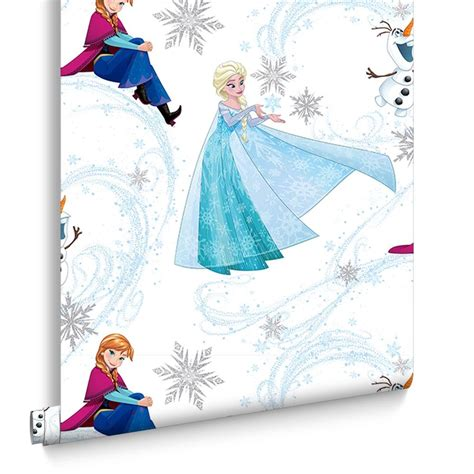 frozen wallpaper roll frozen anna elsa olaf blue shimmer wallpaper graham