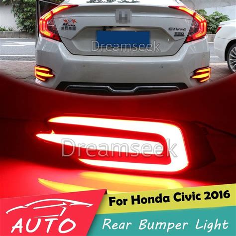 rear brake light for honda civic 2016 17 red led reflector rear bumper tail