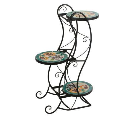 decorative 3 tier mosaic glass plant stand page 1 qvc com