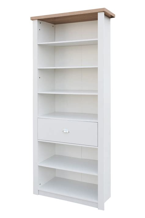 St Ives 6 Shelf Single Drawer Tall Slim Bookcase Storage White Slim Bookcase