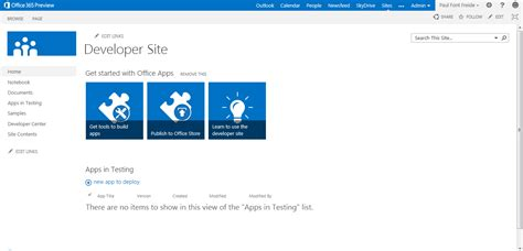 Office 365 Developer Portal Office 365 Developers Preview Thoughts On Sharepoint