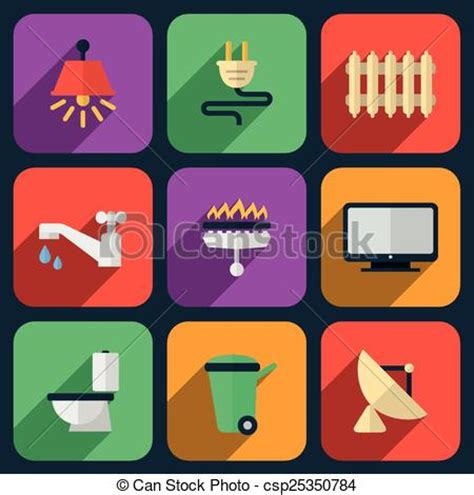Vector of Utilities icons in flat style. Heating and