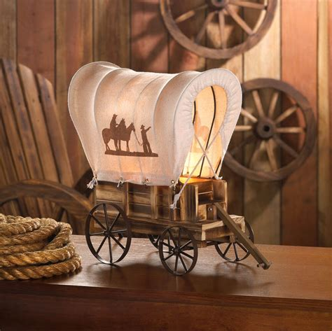 western wagon lamp table covered vintage light wood cowboy decor ebay