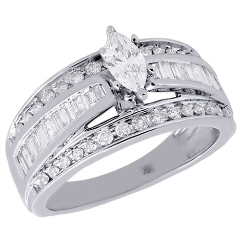 14k white gold marquise cut solitaire wedding