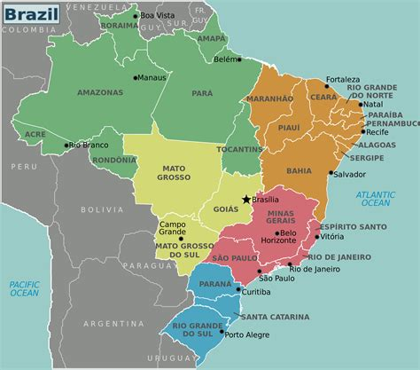 brazil map large detailed brazil regions map brazil regions large