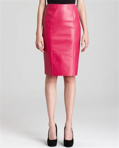 sachin babi lara leather pencil skirt in pink magenta