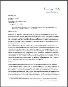 Date On Cover Letter by Sec Comments On Target Date Fund Naming Brightscope