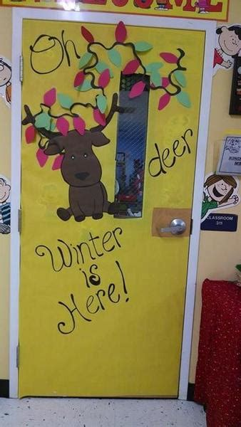 oh deer door decoration quot oh deer winter is here quot winter classroom door display supplyme