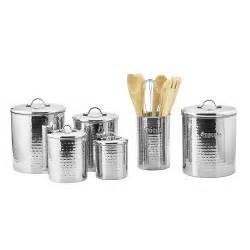 Old Dutch Stainless Steel Hammered 4 Piece Canister Set Bathroom Canister Set