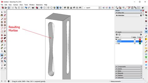 sketchup tutorial intersect need to create an irregular mortise and tenon in sketchup