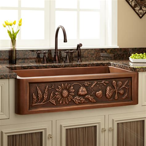 36 Quot Floral Design Copper Farmhouse Sink Kitchen Farmhouse Copper Kitchen Sink