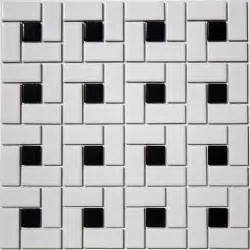 black and white mosaic tile