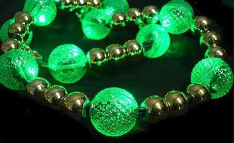 wholesale 9 foot green led lit bead garland