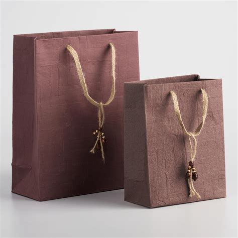 Handmade Sacks - brown woven handmade gift bags world market