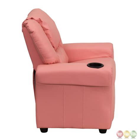 kid recliner with cup holder contemporary pink vinyl kids recliner with cup holder and