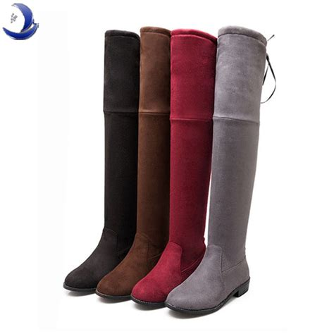 big size brand stretch boots knee boots flat