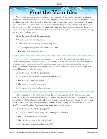 high main idea reading passage worksheet