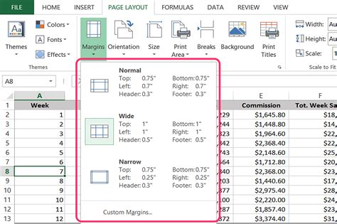 excel layout for printing margins do not fit page size excel 2007 how to change