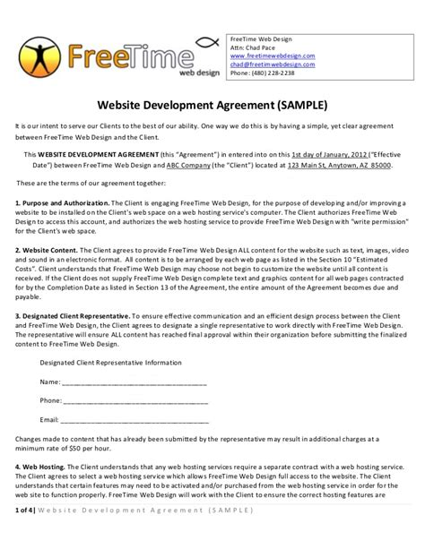 Agreement Letter For Website Sle Website Development Agreement