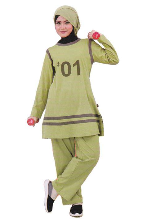 Baju Senam Setelan Broklyn Baju Wanita Kaos Celana Murah qirani setelan baju olahraga muslim hijau qdf35 baju