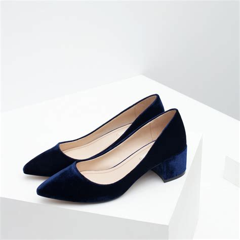 velvet sneakers zara block heel velvet shoes in blue lyst