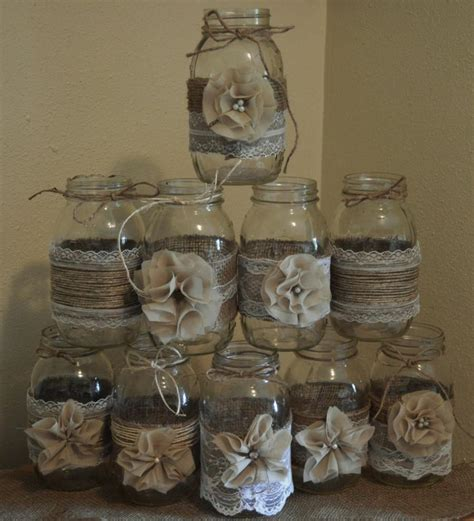 Set Of 10 Mason Jar Sleeves Burlap Wedding Decorations Jars Wedding Centerpieces