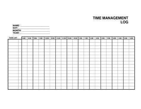 time management sheets template 7 best images of printable weekly time log daily work